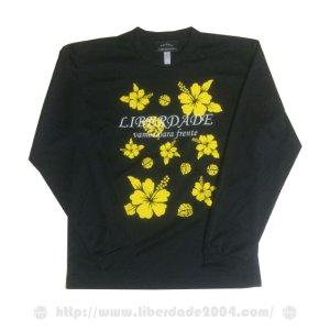 画像1: ハイビスカスロングプラクティスシャツblack*yellow